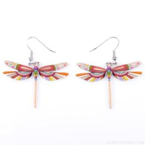 Dragonfly Acrylic Earrings - Beige - Custom Made | Free Shipping