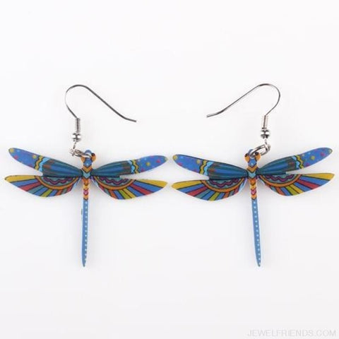 Dragonfly Acrylic Earrings - Blue - Custom Made | Free Shipping
