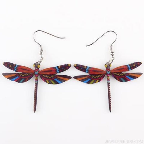 Dragonfly Acrylic Earrings - Brown - Custom Made | Free Shipping