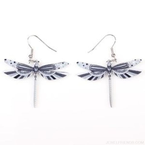 Dragonfly Acrylic Earrings - Gray - Custom Made | Free Shipping