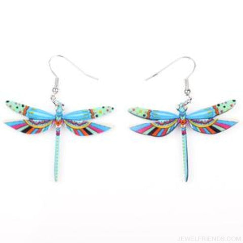 Dragonfly Acrylic Earrings - Light Blue - Custom Made | Free Shipping