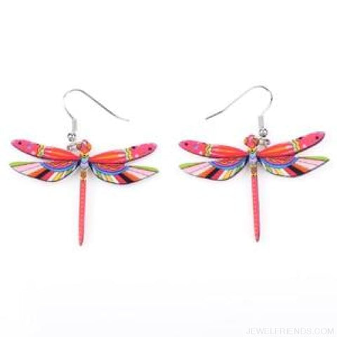 Dragonfly Acrylic Earrings - Light Red - Custom Made | Free Shipping