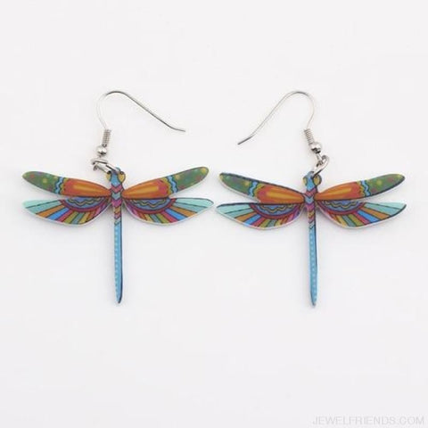 Dragonfly Acrylic Earrings - Multicolor - Custom Made | Free Shipping