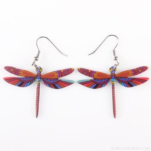 Dragonfly Acrylic Earrings - Red - Custom Made | Free Shipping