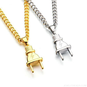 Electrical Plug Shape Pendants Necklaces - Custom Made | Free Shipping