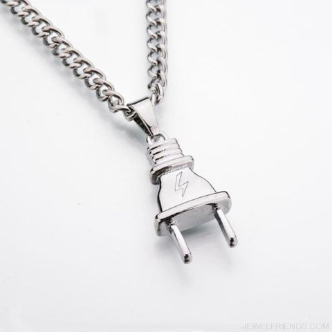 Electrical Plug Shape Pendants Necklaces - Silver Plated - Custom Made | Free Shipping