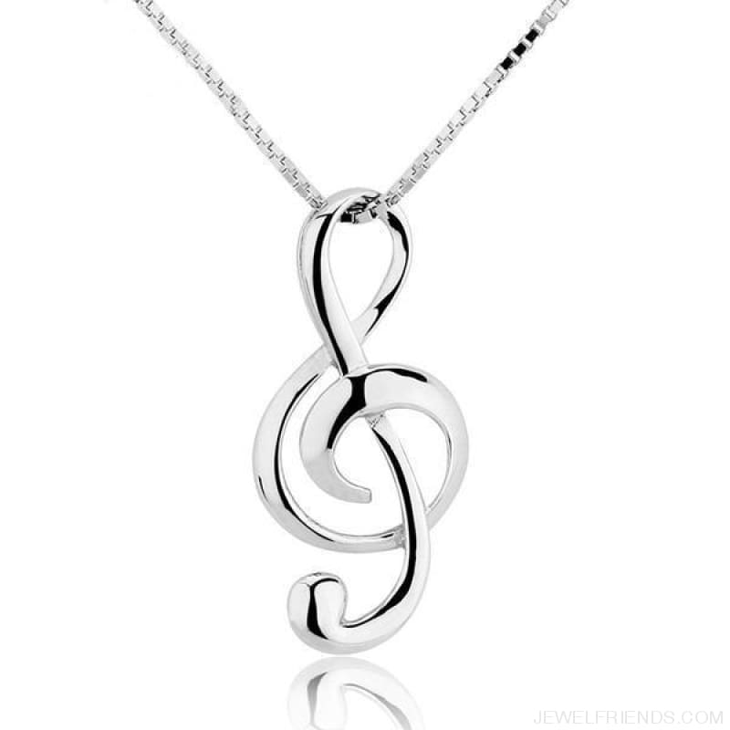Elegant Musical Note 925 Sterling Silver Necklace - Custom Made | Free Shipping