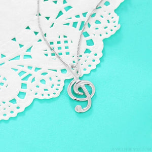 Elegant Musical Note 925 Sterling Silver Necklace