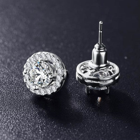 Elegant Round Silver Color Aaa Cubic Zirconia Stone Earrings - Custom Made | Free Shipping