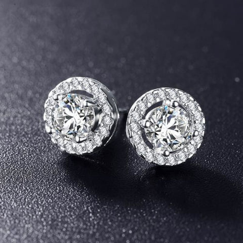Elegant Round Silver Color Aaa Cubic Zirconia Stone Earrings - White Color - Custom Made | Free Shipping