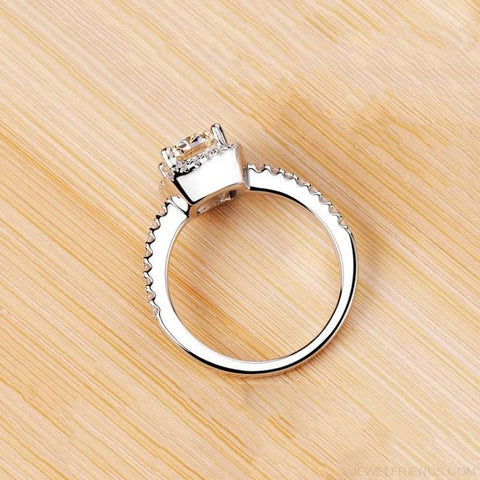 Image of Elegant White Silver Filled Wedding Ring - Custom Made | Free Shipping