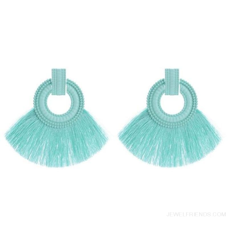 Ethnic Beach Tassel Large Statement Fringing Earing - Green - Custom Made | Free Shipping