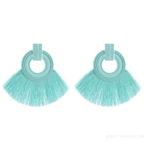 Image of Ethnic Beach Tassel Large Statement Fringing Earing - Green - Custom Made | Free Shipping