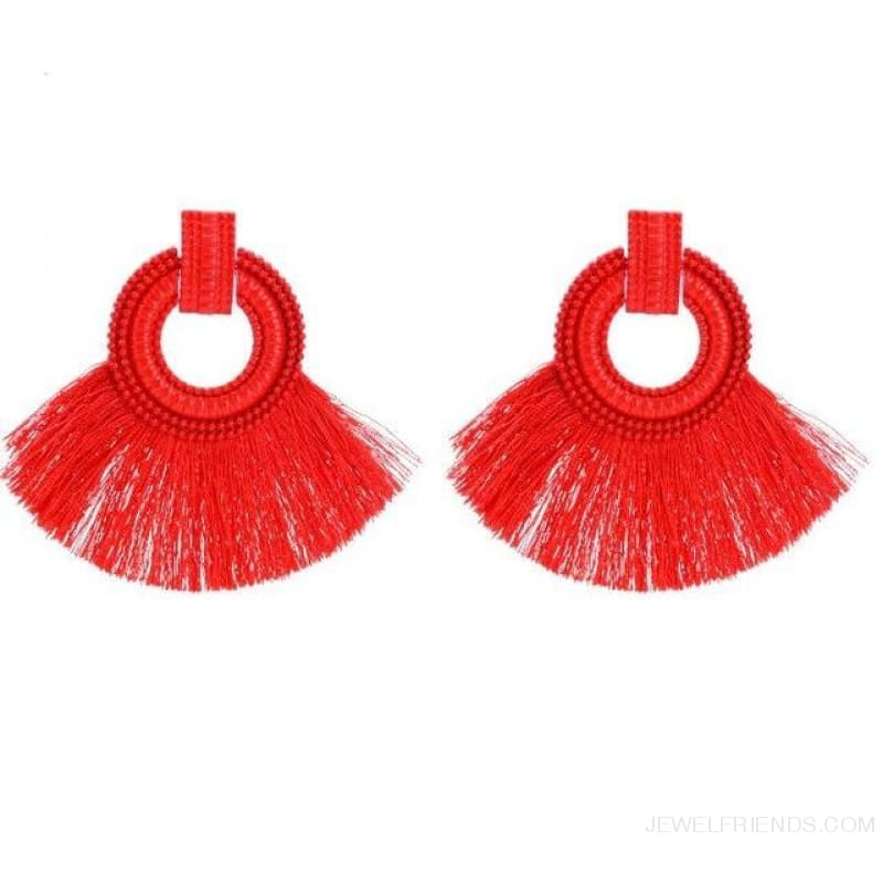 Ethnic Beach Tassel Large Statement Fringing Earing - Red - Custom Made | Free Shipping