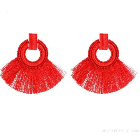 Image of Ethnic Beach Tassel Large Statement Fringing Earing - Red - Custom Made | Free Shipping