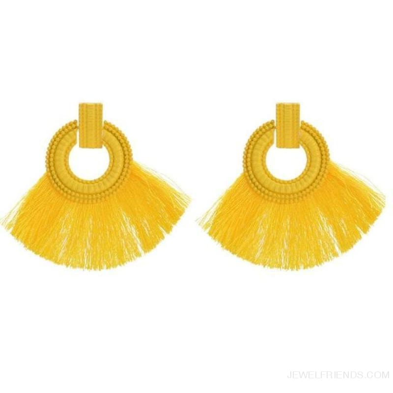 Ethnic Beach Tassel Large Statement Fringing Earing - Yellow - Custom Made | Free Shipping