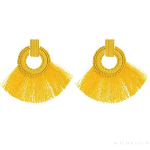Image of Ethnic Beach Tassel Large Statement Fringing Earing - Yellow - Custom Made | Free Shipping