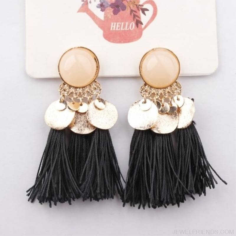 Ethnic Bohemia Dangle Drop Earrings Summer Round Resin Tassel - Black Color - Custom Made | Free Shipping