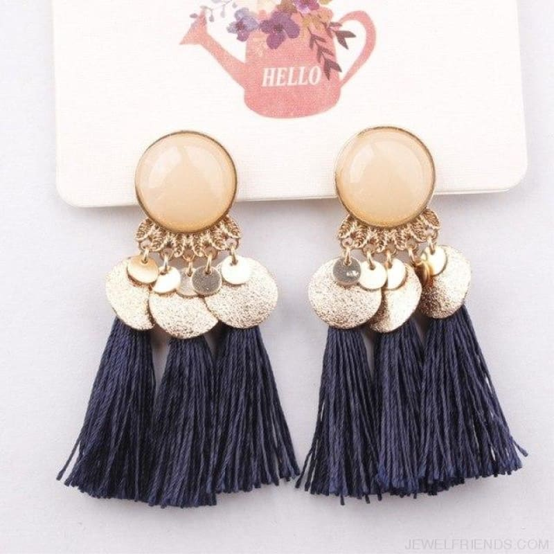 Ethnic Bohemia Dangle Drop Earrings Summer Round Resin Tassel - Blue Color - Custom Made | Free Shipping