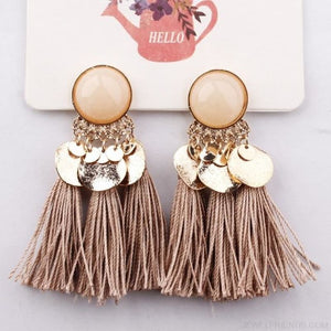 Ethnic Bohemia Dangle Drop Earrings Summer Round Resin Tassel - Brown Color - Custom Made | Free Shipping