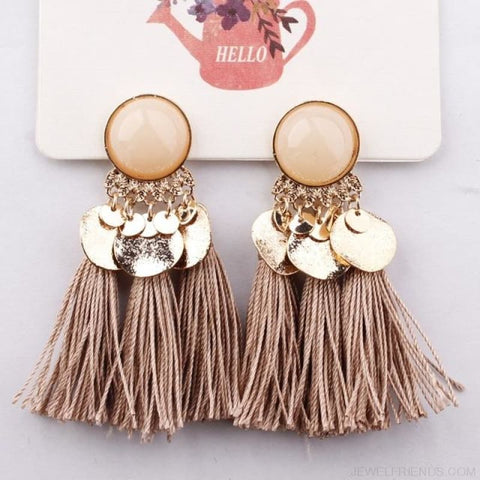 Image of Ethnic Bohemia Dangle Drop Earrings Summer Round Resin Tassel - Brown Color - Custom Made | Free Shipping