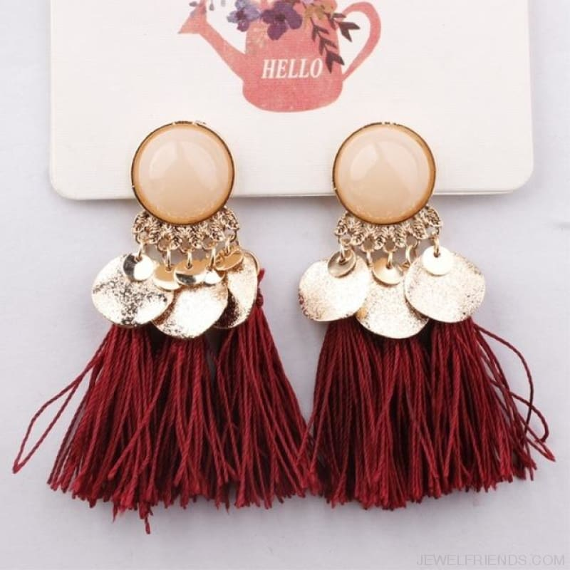 Ethnic Bohemia Dangle Drop Earrings Summer Round Resin Tassel - Dark Red Color - Custom Made | Free Shipping