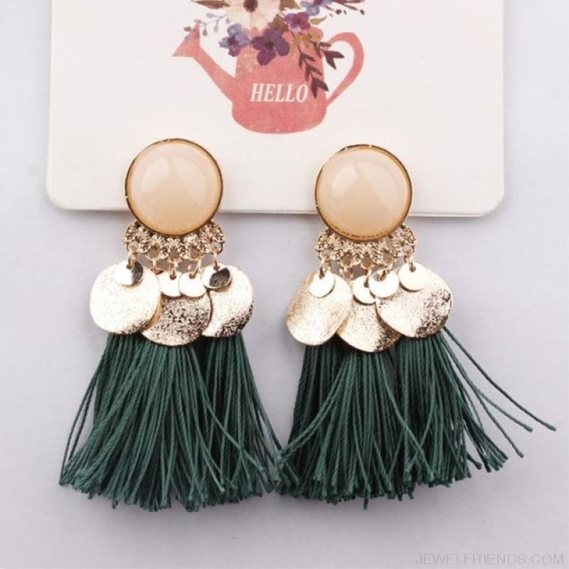 Ethnic Bohemia Dangle Drop Earrings Summer Round Resin Tassel - Green Color - Custom Made | Free Shipping