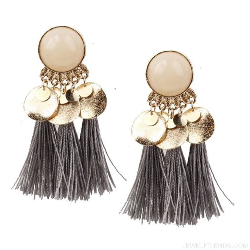 Ethnic Bohemia Dangle Drop Earrings Summer Round Resin Tassel - Grey Color - Custom Made | Free Shipping