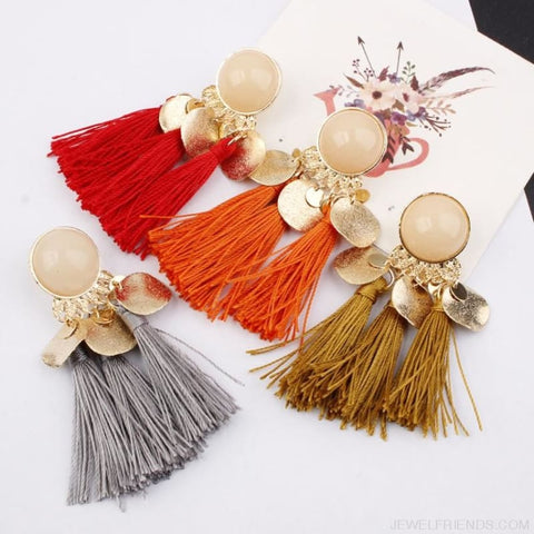 Image of Ethnic Bohemia Dangle Drop Earrings Summer Round Resin Tassel - Custom Made | Free Shipping