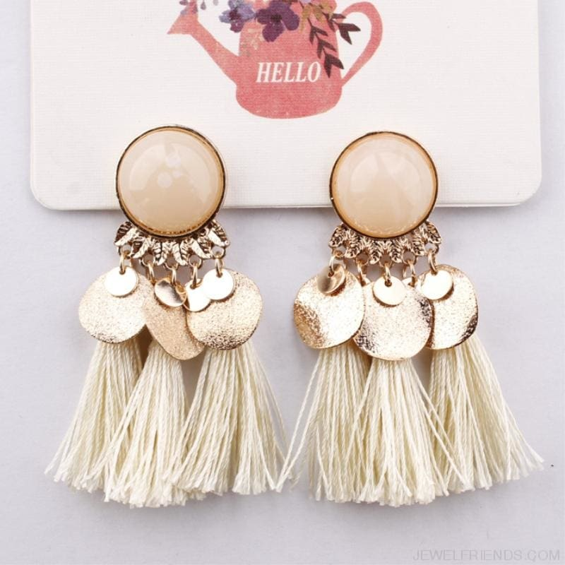 Ethnic Bohemia Dangle Drop Earrings Summer Round Resin Tassel - Custom Made | Free Shipping
