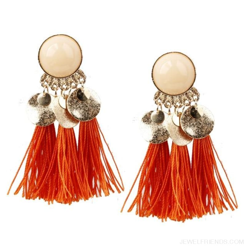Ethnic Bohemia Dangle Drop Earrings Summer Round Resin Tassel - Orange Red - Custom Made | Free Shipping