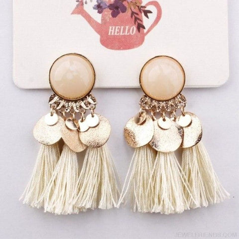 Ethnic Bohemia Dangle Drop Earrings Summer Round Resin Tassel - White Color - Custom Made | Free Shipping