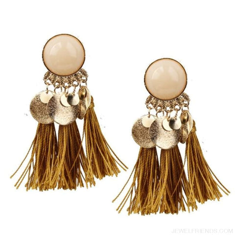 Image of Ethnic Bohemia Dangle Drop Earrings Summer Round Resin Tassel - Yellow Color - Custom Made | Free Shipping