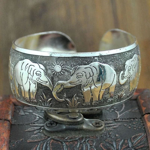 Image of Ethnic Carved Pattern Elephant Cuff Bracelets - Custom Made | Free Shipping