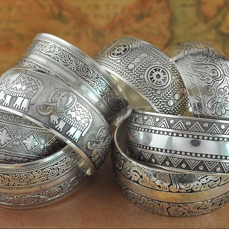 Ethnic Carved Pattern Elephant Cuff Bracelets - Custom Made | Free Shipping