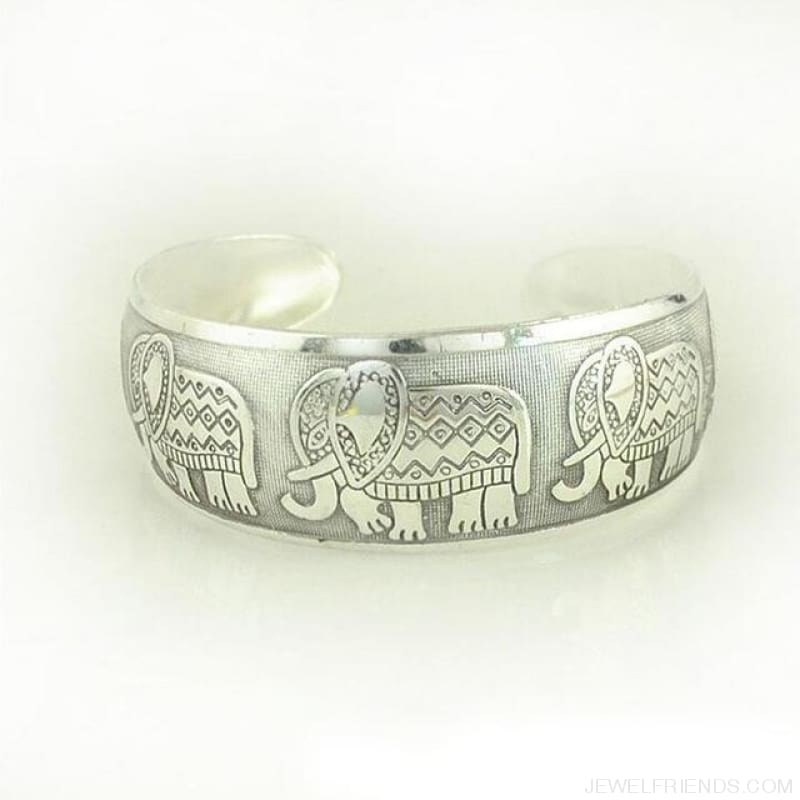 Ethnic Carved Pattern Elephant Cuff Bracelets - Sxrz597 - Custom Made | Free Shipping
