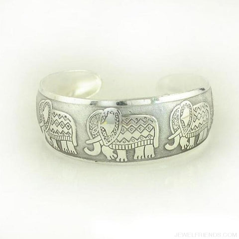 Image of Ethnic Carved Pattern Elephant Cuff Bracelets - Sxrz597 - Custom Made | Free Shipping