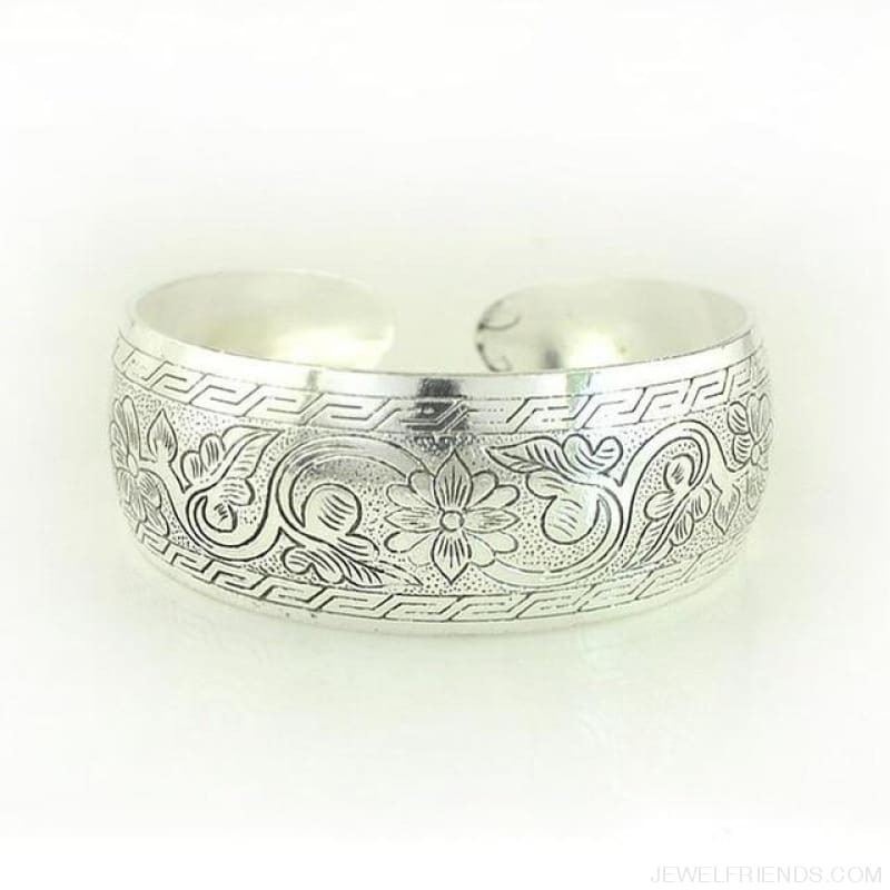 Ethnic Carved Pattern Elephant Cuff Bracelets - Sxrz598 - Custom Made | Free Shipping