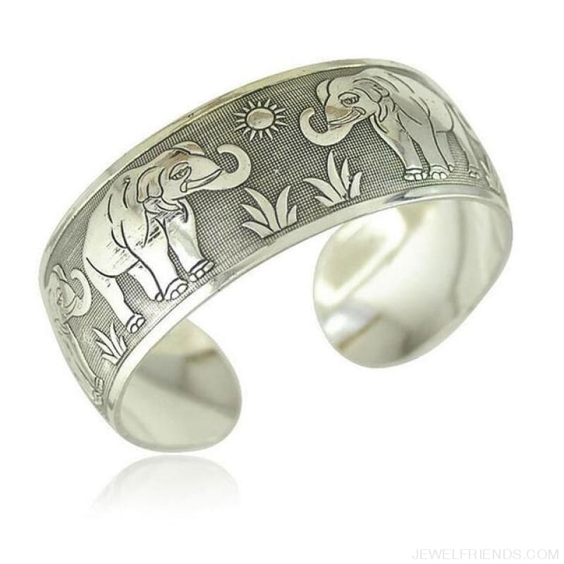 Ethnic Carved Pattern Elephant Cuff Bracelets - Sxrz601 - Custom Made | Free Shipping