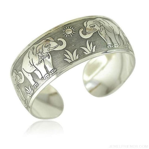 Image of Ethnic Carved Pattern Elephant Cuff Bracelets - Sxrz601 - Custom Made | Free Shipping