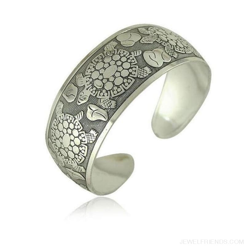 Ethnic Carved Pattern Elephant Cuff Bracelets - Sxrz602 - Custom Made | Free Shipping