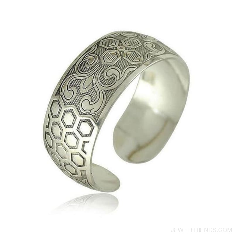 Ethnic Carved Pattern Elephant Cuff Bracelets - Sxrz603 - Custom Made | Free Shipping