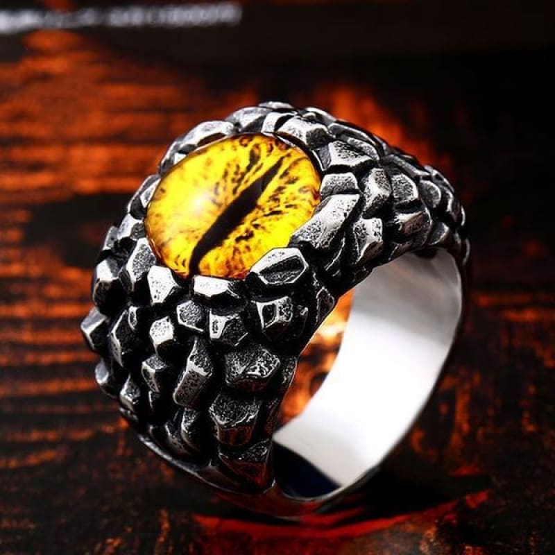 Evil Eye Ring - 7 / B Style Yellow - Custom Made | Free Shipping