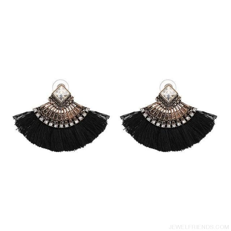 Fan Shaped Cotton Handmade Tassels Fringed Earrings - Black - Custom Made | Free Shipping