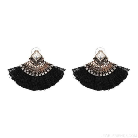 Image of Fan Shaped Cotton Handmade Tassels Fringed Earrings - Black - Custom Made | Free Shipping