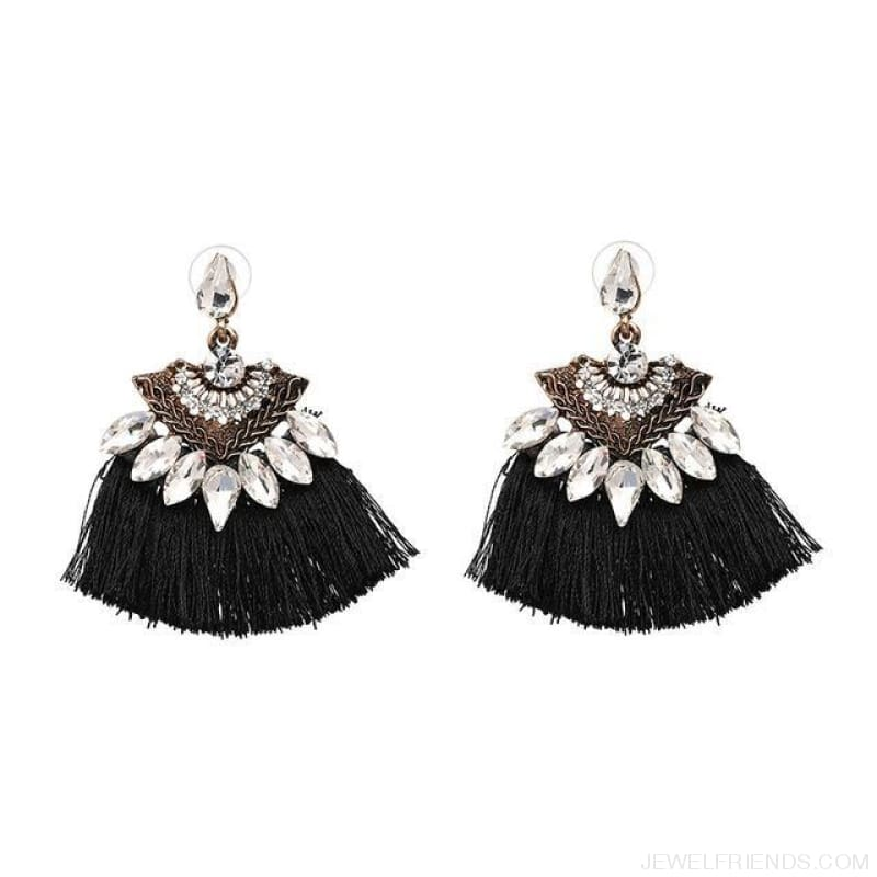 Fan Shaped Cotton Handmade Tassels Fringed Earrings - Black1 - Custom Made | Free Shipping