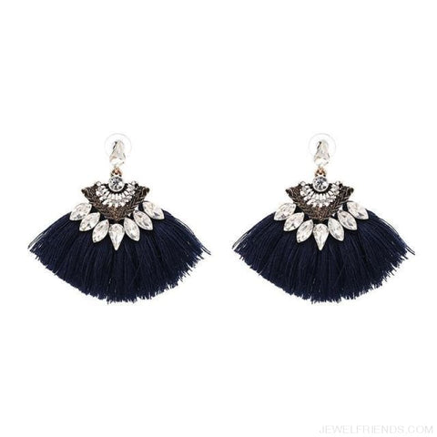 Image of Fan Shaped Cotton Handmade Tassels Fringed Earrings - Blue1 - Custom Made | Free Shipping