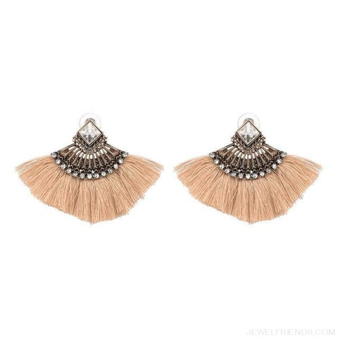 Image of Fan Shaped Cotton Handmade Tassels Fringed Earrings - Brown - Custom Made | Free Shipping