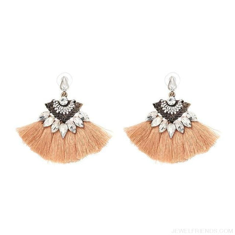 Image of Fan Shaped Cotton Handmade Tassels Fringed Earrings - Brown1 1 - Custom Made | Free Shipping