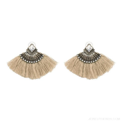Image of Fan Shaped Cotton Handmade Tassels Fringed Earrings - Brown1 - Custom Made | Free Shipping